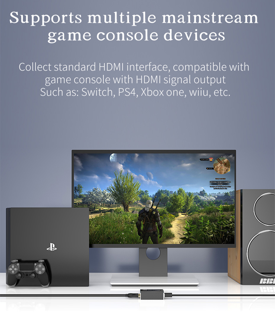 HDMI video live capture card 1805 supports a variety of mainstream game console devices