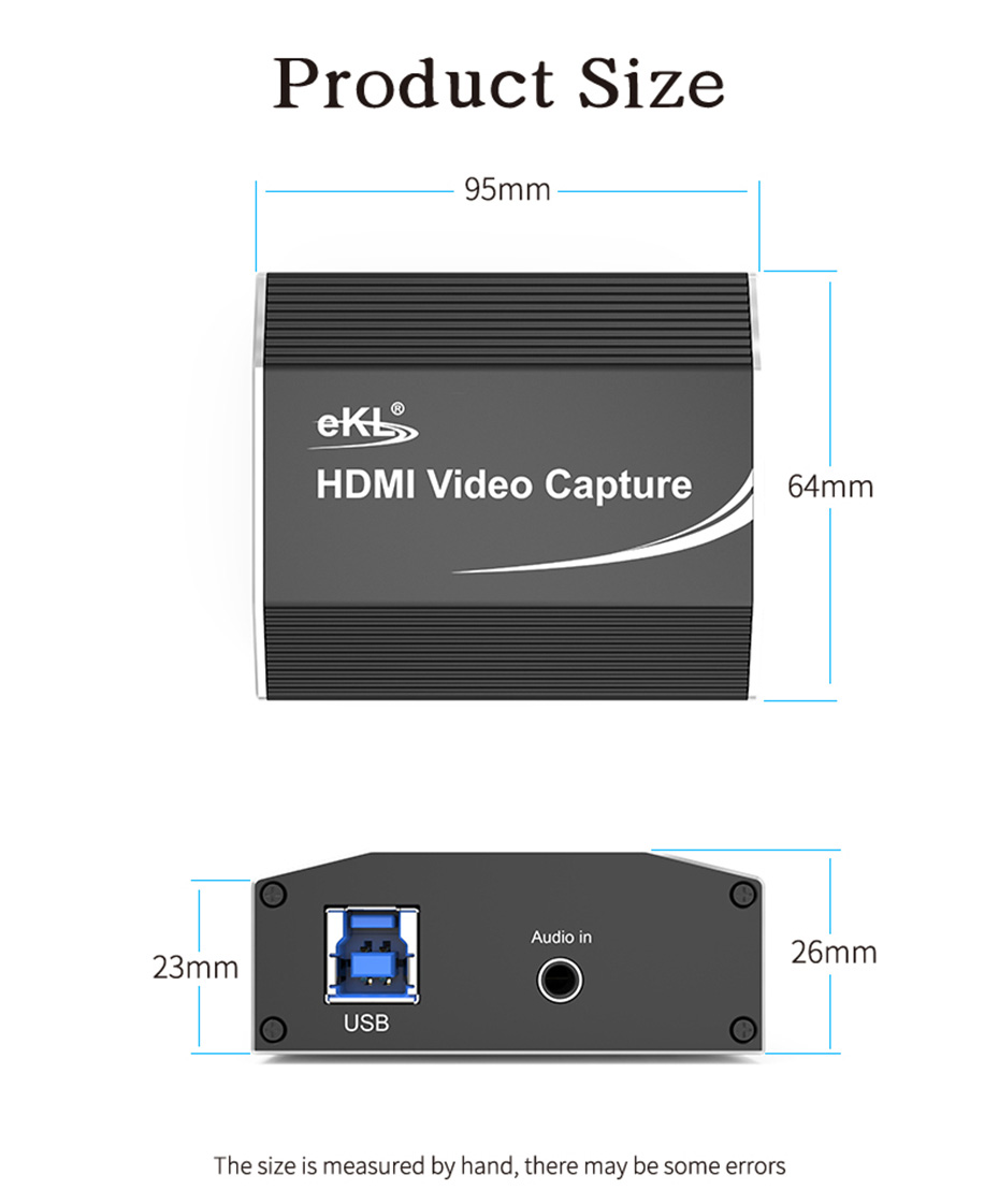 HDMI video live capture card 1805 length: 95mm; width: 64mm; height: 26mm