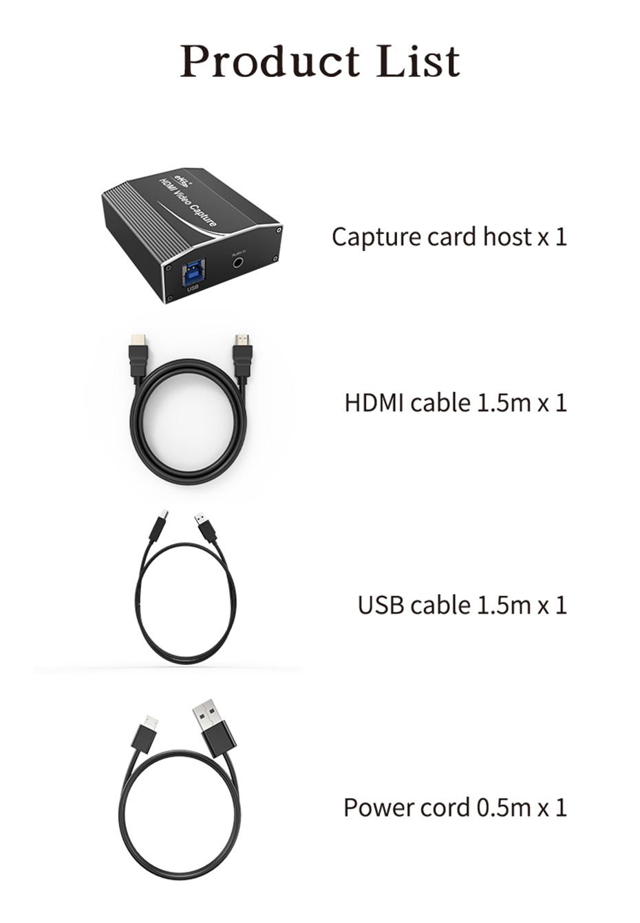 HDMI video live capture card 1805 standard accessories