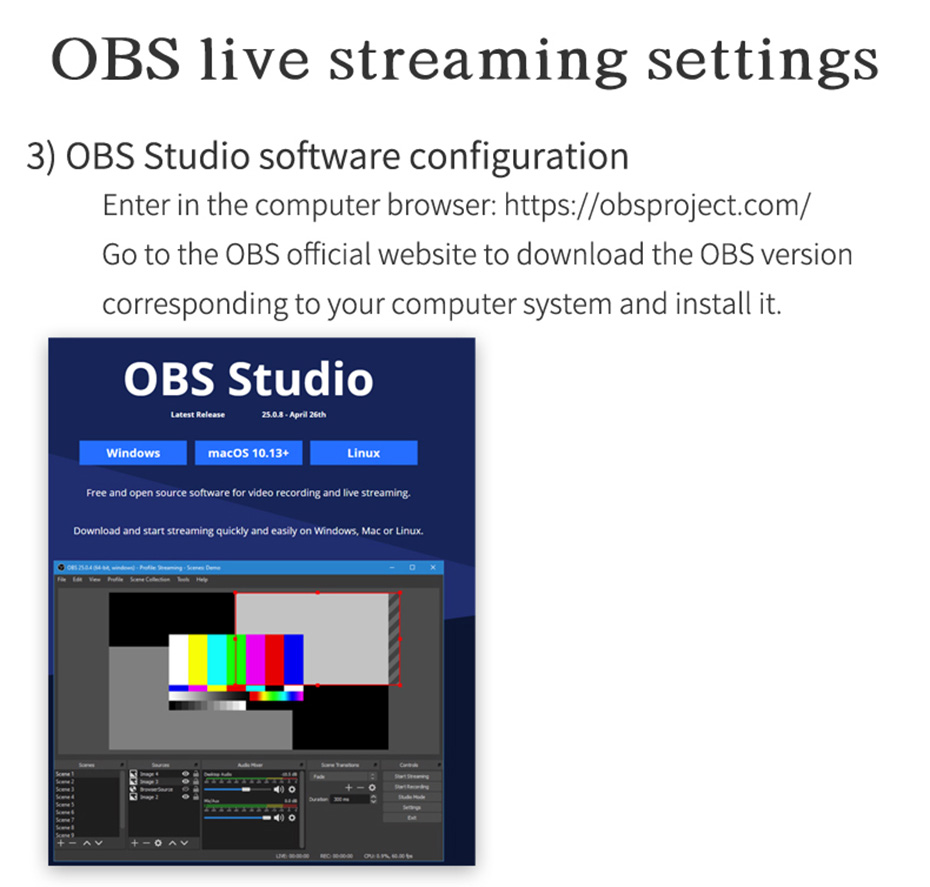 HDMI video live capture card 1805 uses OBS live settings