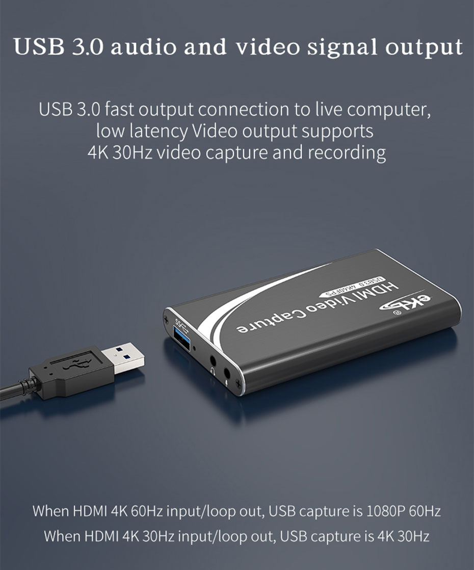 HDMI capture card/USB video capture card HUC03 supports USB 3.0 audio and video signal output