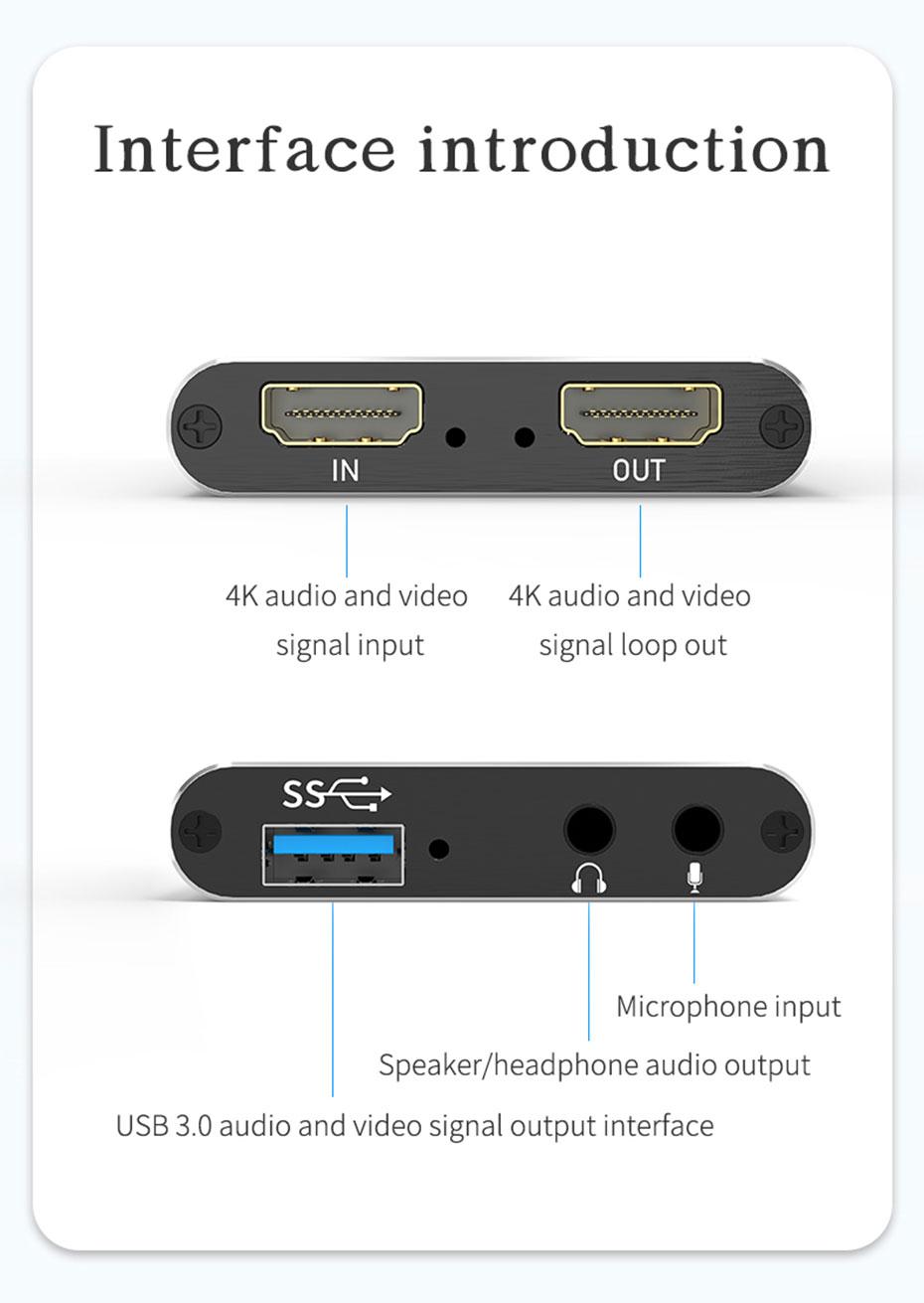 USB3.0 HDMI video capture card HUC03 interface introduction