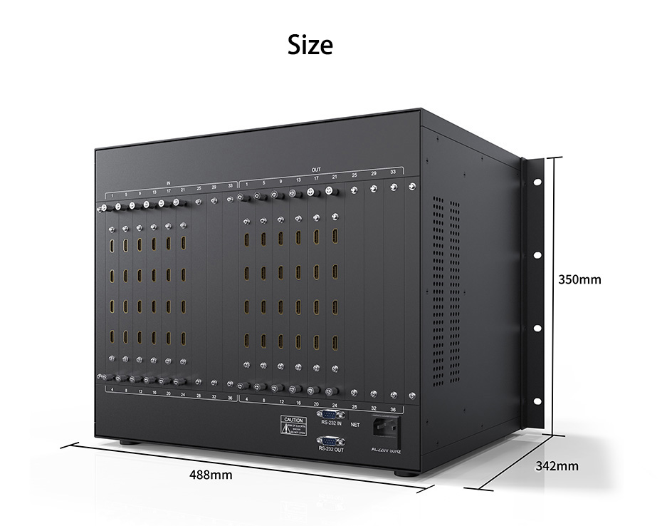 HDMI matrix 24 in 24 out 2424H length: 488mm; width: 342mm; height: 350mm