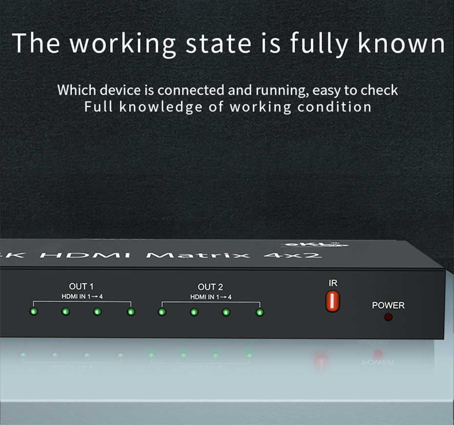 HDMI matrix 4 in 2 out 412H uses work indicator design