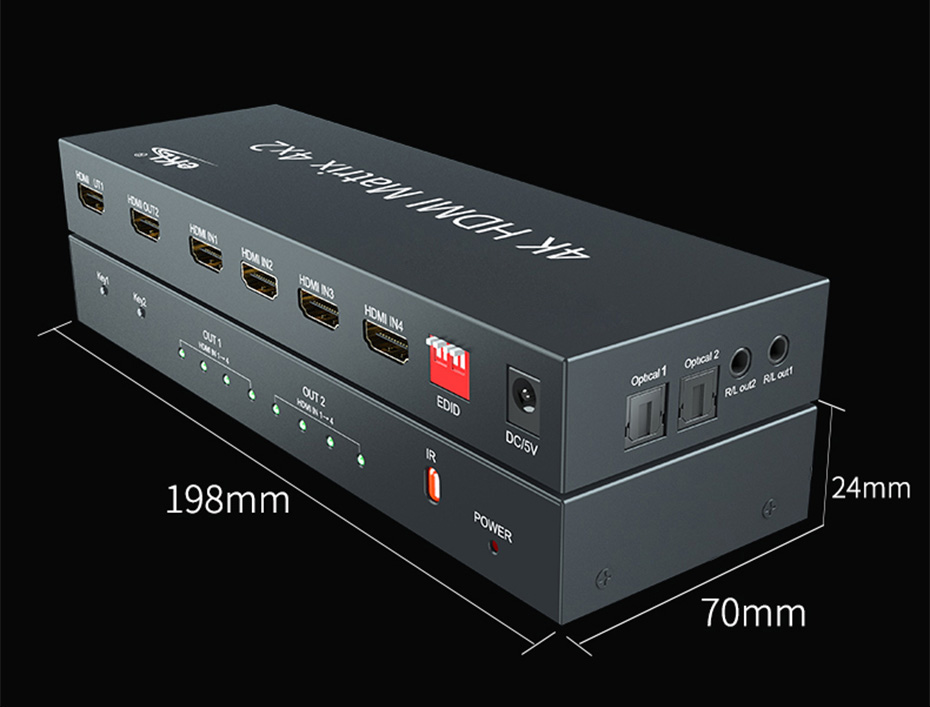 HDMI matrix 4 in 2 out 412H length 198mm; width 70mm; height 24mm