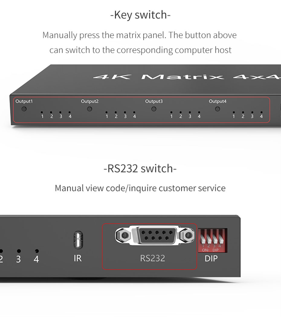 4 port HDMI matrix 4 in 4 out 414HN key switch and RS232 switch