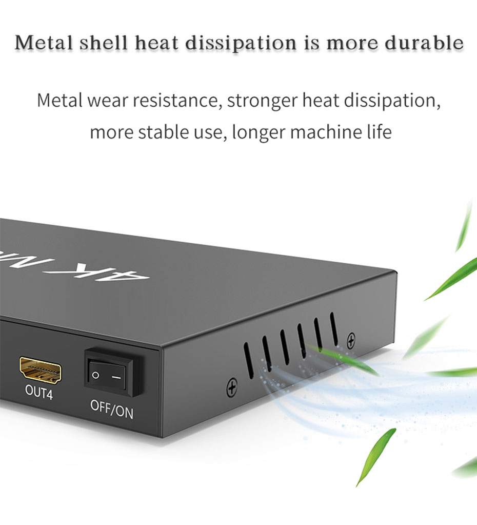 4-port HDMI matrix, 4 inputs and 4 outputs 414HN, using metal casing for easy heat dissipation