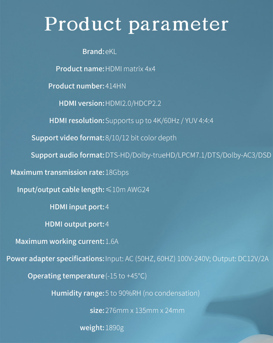 4 port HDMI matrix 4 in 4 out 414HN specifications