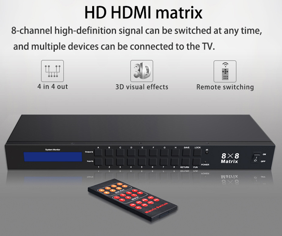 HDMI matrix 8 in 8 out 818H