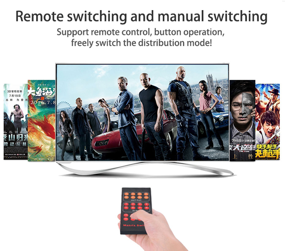 HDMI matrix 8 in 8 out 818H support remote control and button switching