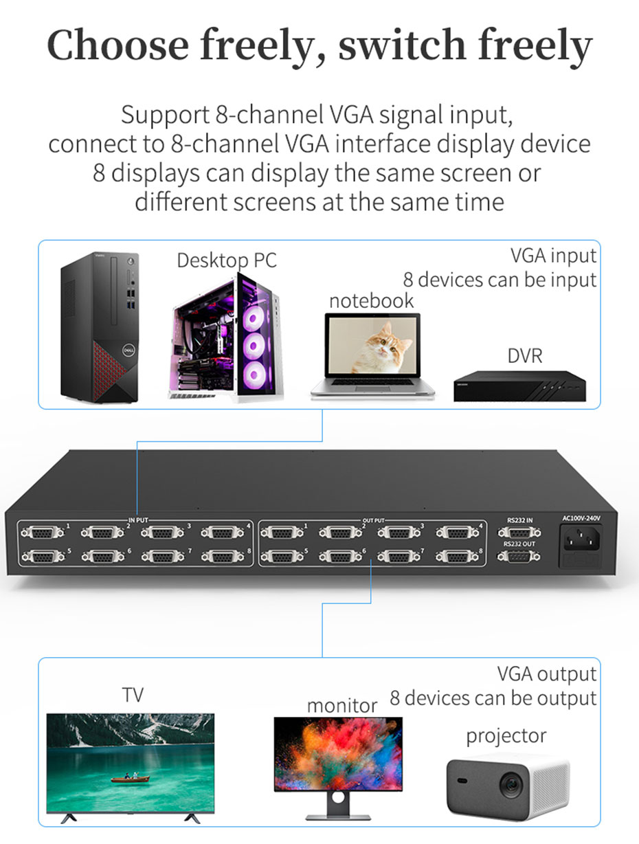 VGA matrix switcher with RS232 8 inputs and 8 outputs, free switching