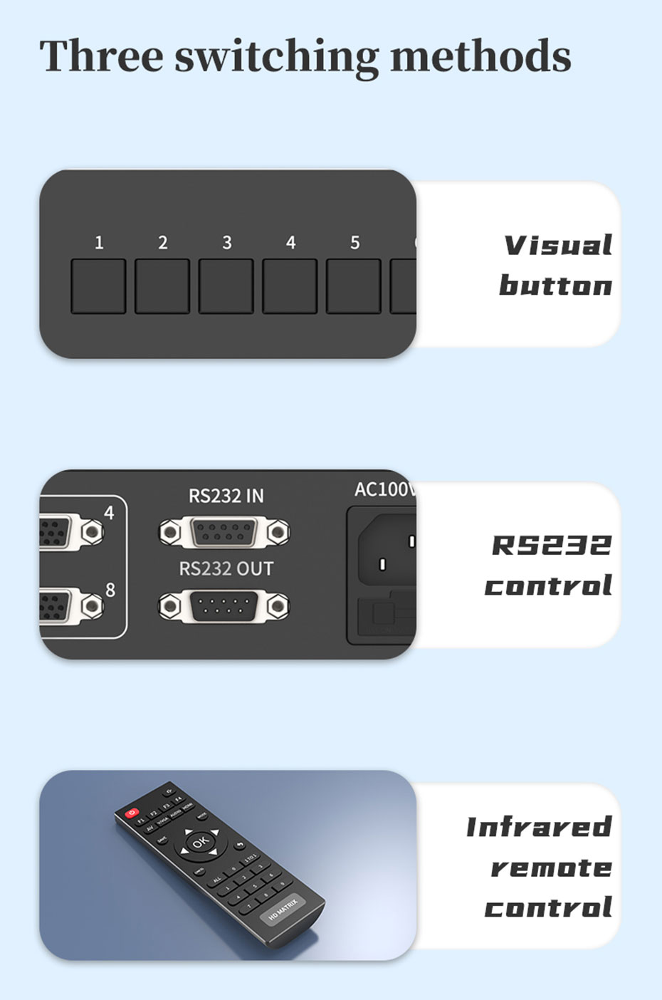 VGA matrix switcher 8x8 V818 with RS232 supports three switching methods: visual button switching, RS232 control switching, infrared remote control switching