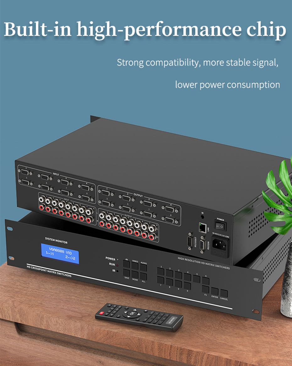 8X8 vga audio matrix switcher V818A uses high-performance chips and works stably