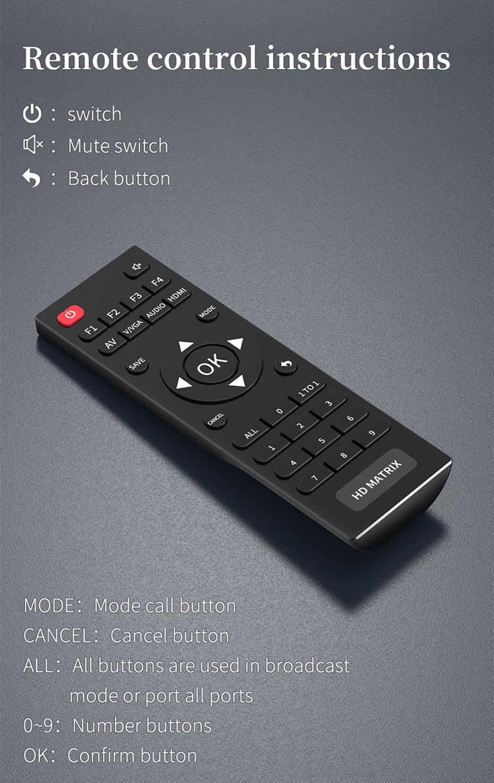 8X8 vga audio matrix switcher V818A remote control instructions