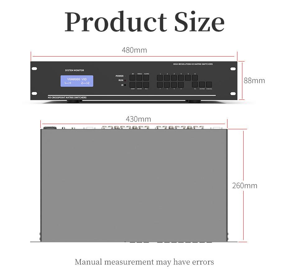 8X8 vga audio matrix switcher V818A length: 480mm; width: 260mm; height: 88mm