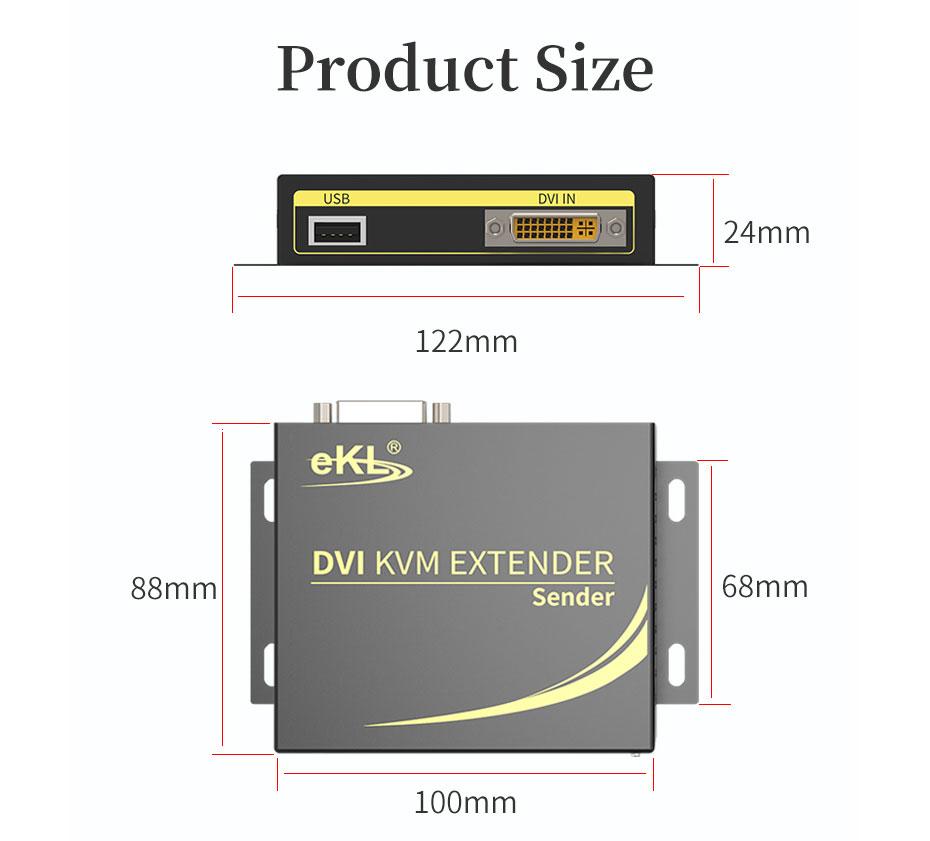 100m DVI KVM single network cable extender DCK100 transmitter end length 122mm; width 88mm; height 24mm