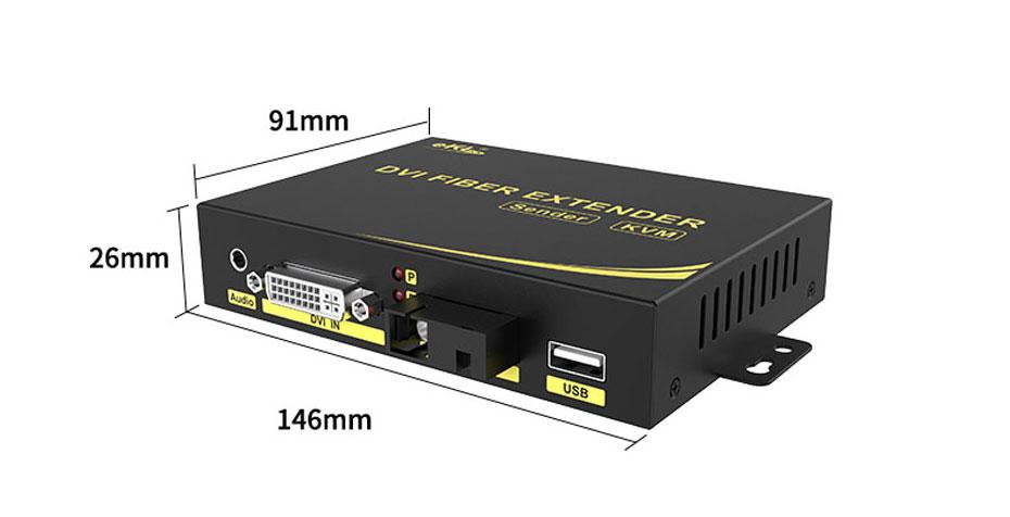 20 km DVI KVM fiber optic extender DFKU200 length 146mm; width 91mm; height 26mm