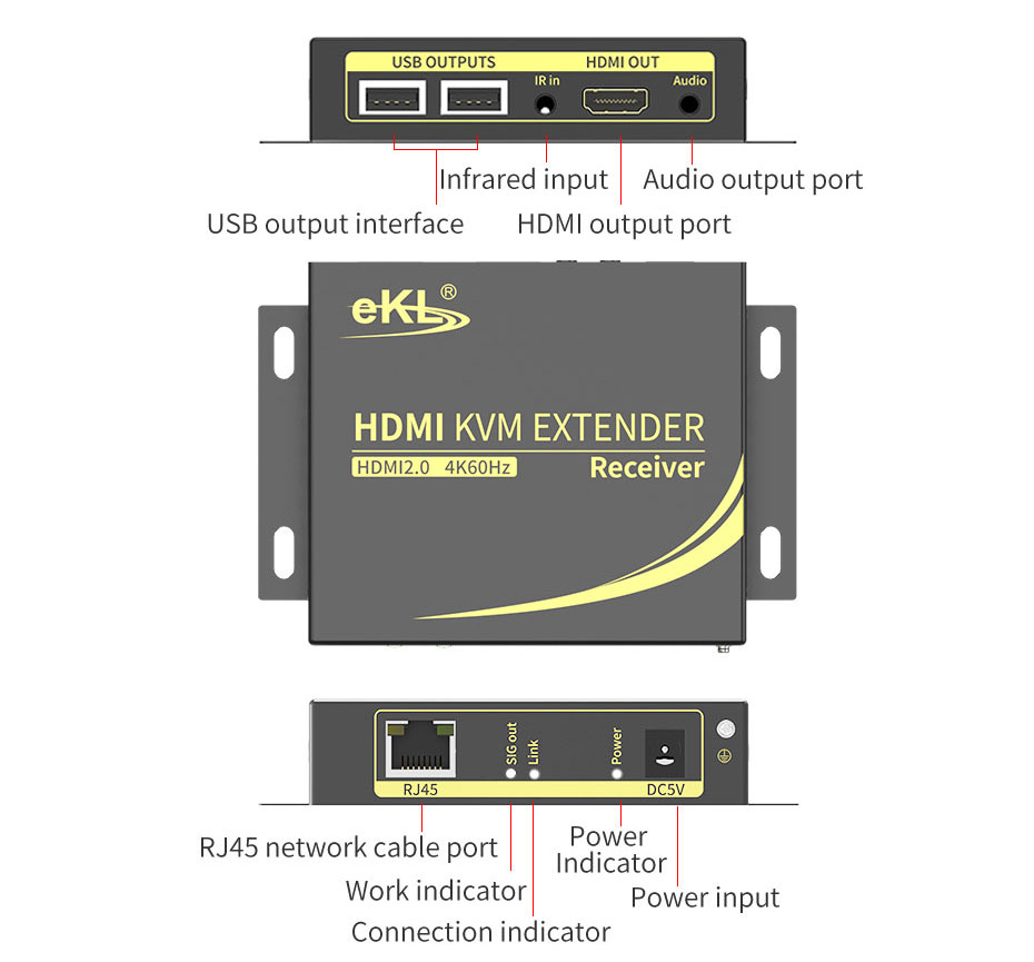 60m HDMI 2.0 extender CAT6 HCK100 receiver interface introduction