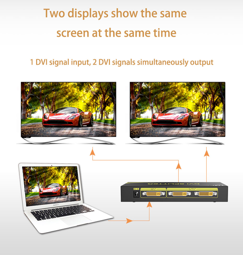 DVI splitter 1 in 2 out 102D 2 display devices show the same screen