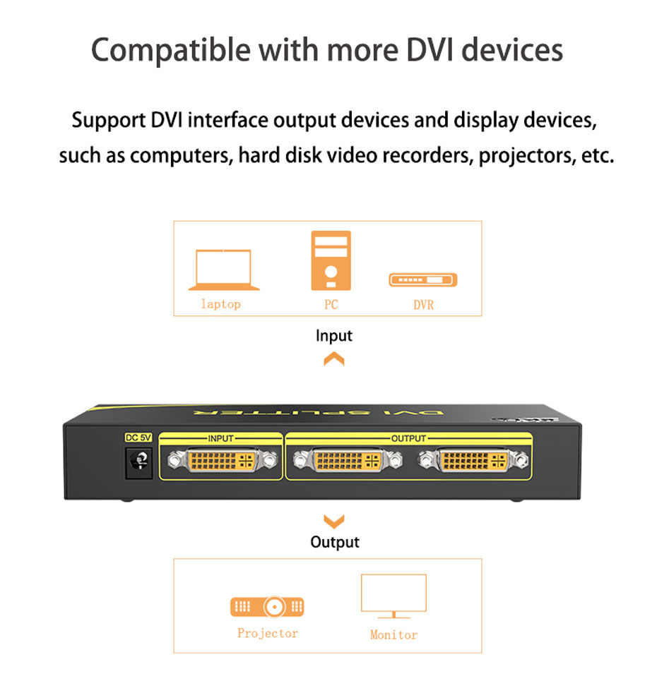 DVI splitter 1 in 2 out 102D compatible with multiple DVI interface devices