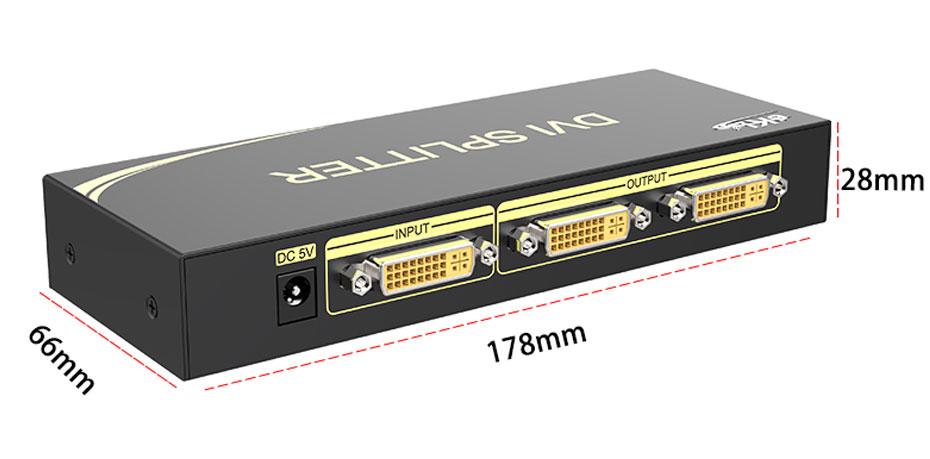 DVI splitter 1 in 2 out 102D length: 178mm; width: 66mm; height: 28mm