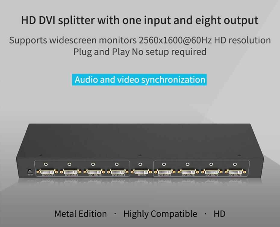 DVI splitter 1 in 8 out 108D