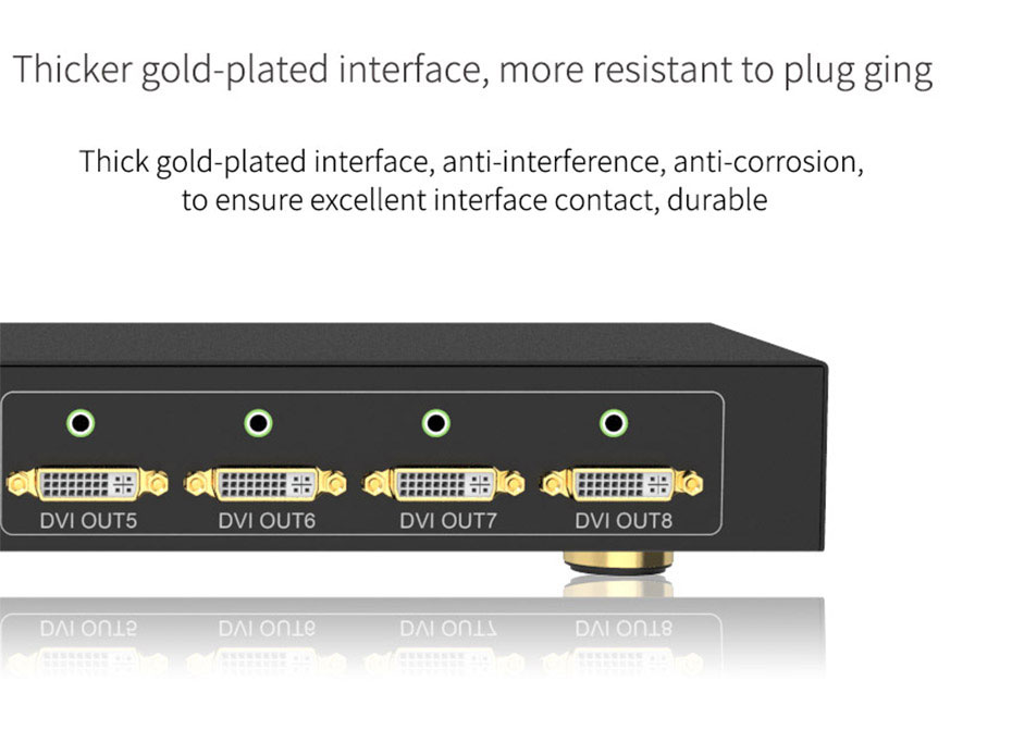 DVI splitter 1 in 8 out 108D using thick gold-plated interface