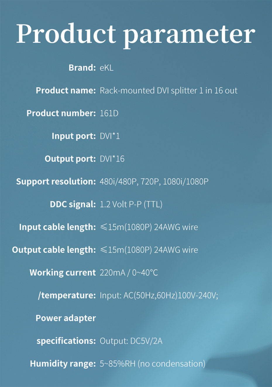 16-port DVI splitter 161D specifications