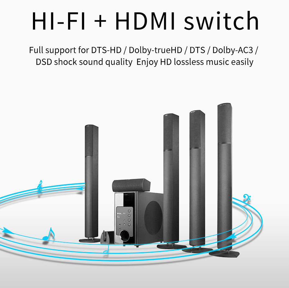2 in 1 out / 1 in 2 out HDMI switch distributor 2H supports audio and video synchronization