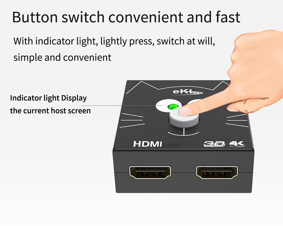 2 in 1 out hdmi switch distributor 2H supports one key switch