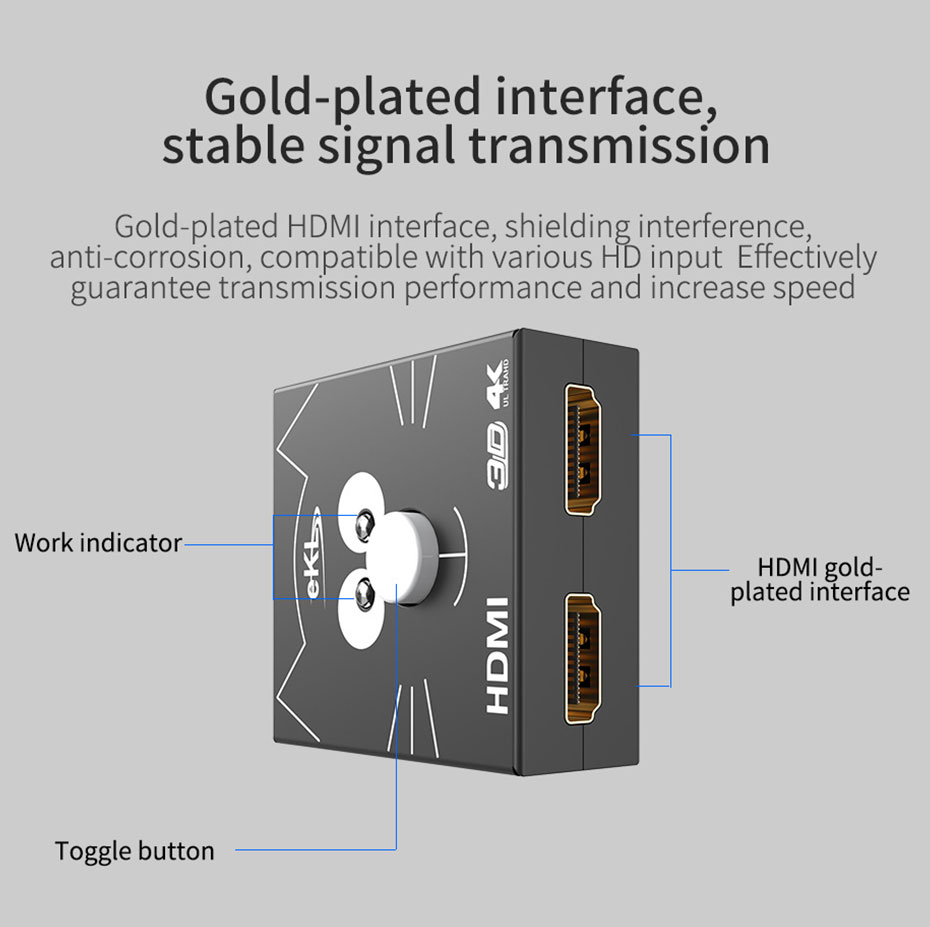 2 in 1 out / 1 in 2 out HDMI switch distributor 2H interface description