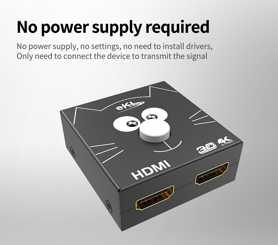 2 in 1 out / 1 in 2 out HDMI switch distributor 2H without external power supply, no need to install driver