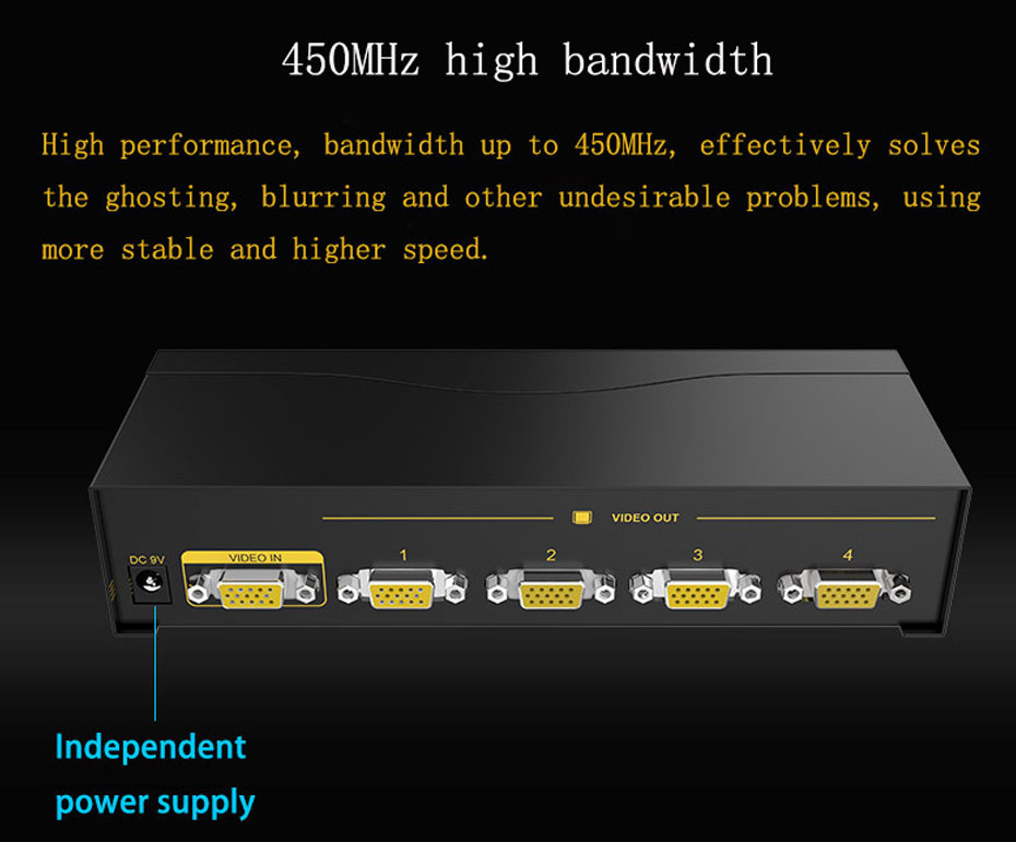 VGA splitter 1 in 4 out 94H supports 450MHz high frequency bandwidth