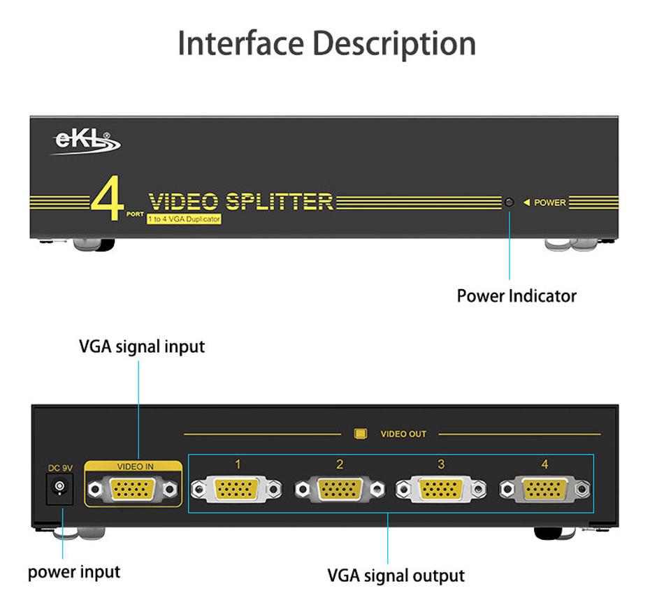 4-port VGA splitter 94H interface description