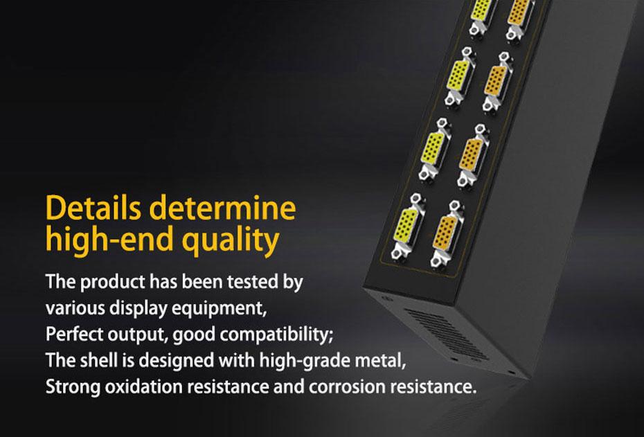 16-port VGA splitter H916 adopts metal body shell