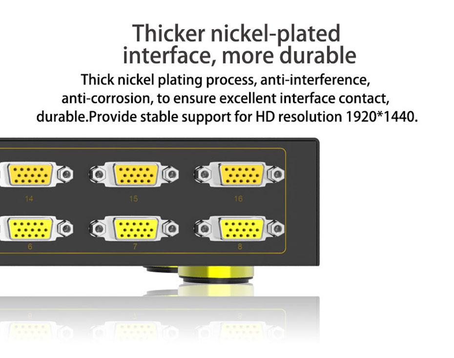 16-port VGA splitter H916 adopts thick nickel-plated VGA interface