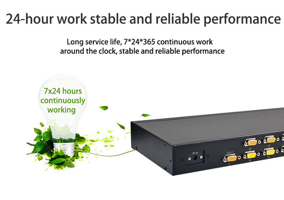 16-port VGA splitter H916 supports 24 hours stable work