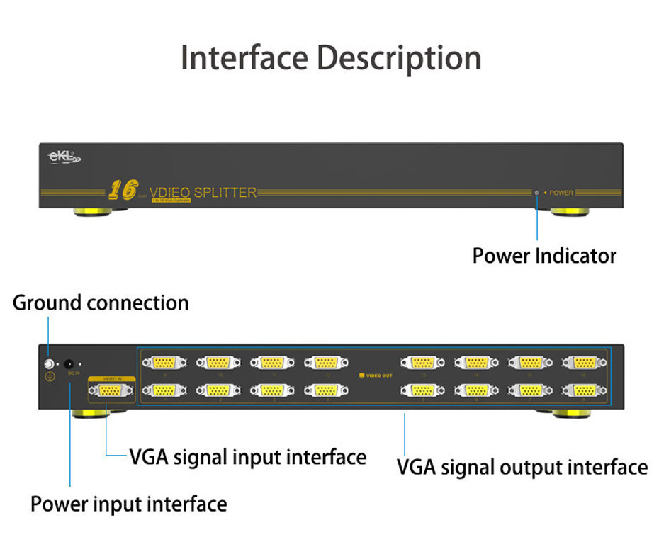 16-port VGA splitter H916 interface description