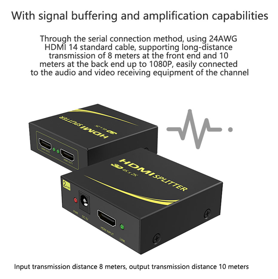 HDMI splitter 1 in 2 out HD102 supports signal buffer amplification