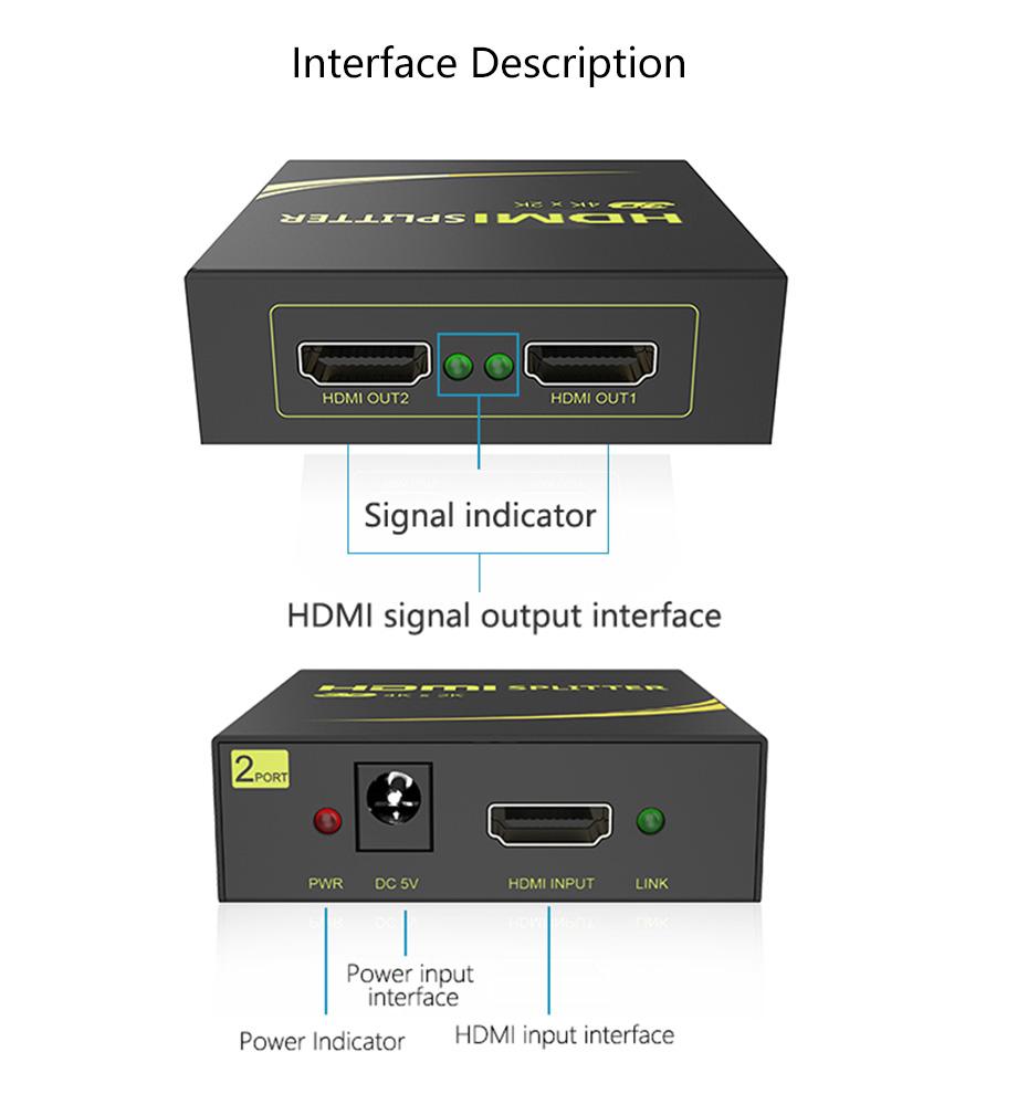 HDMI splitter 1 in 2 out HD102 interface description