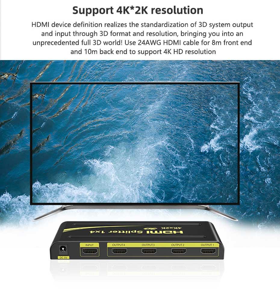 4-port HDMI splitter HD104 supports 4k*2k resolution