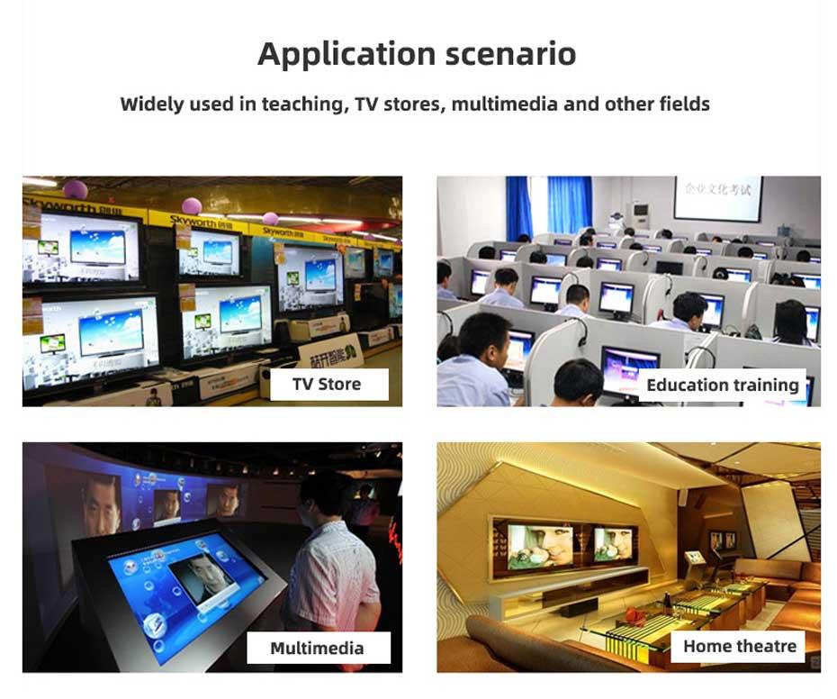 Partial application scenarios of 4-port HDMI splitter HD104