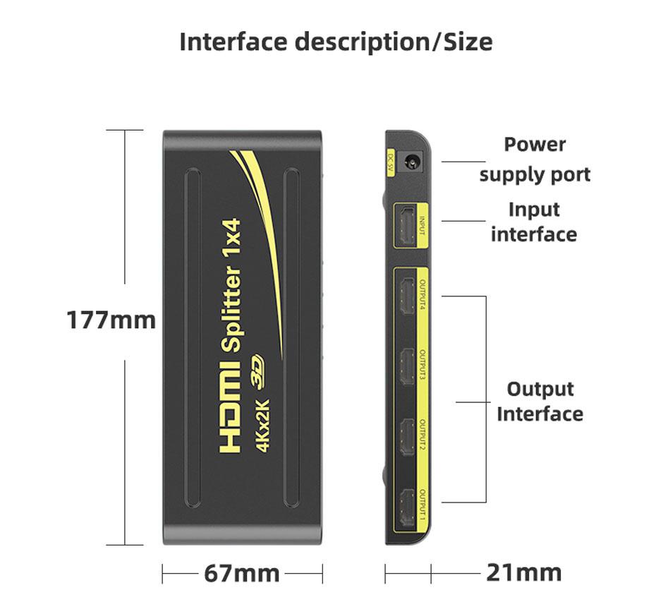 4-port HDMI splitter HD104 interface description, size description