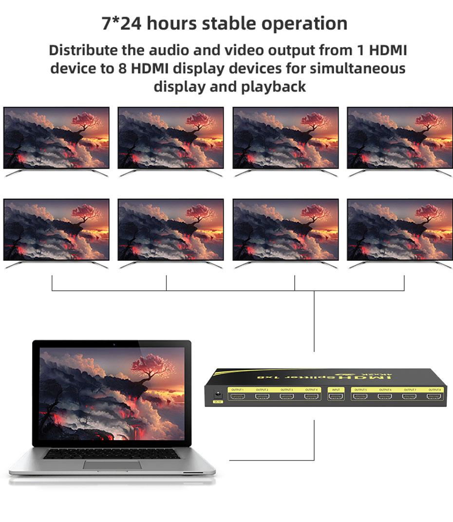 8 port HDMI splitter HD108 connection diagram