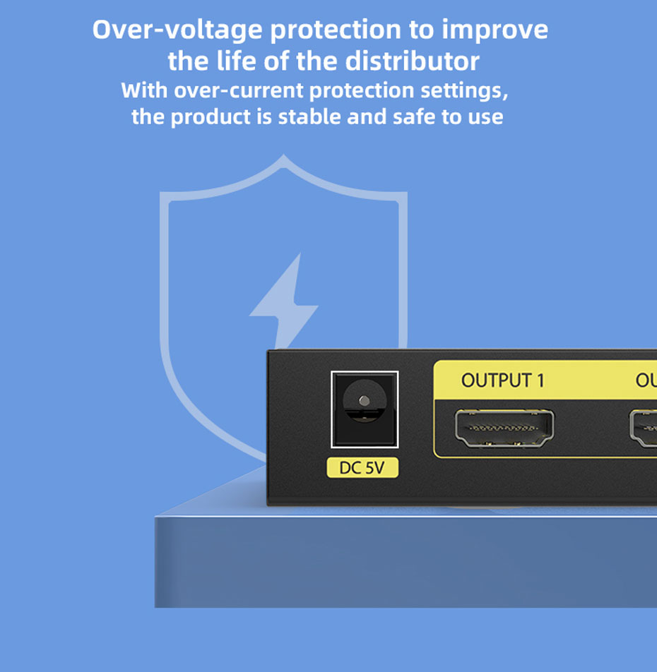 8-port HDMI splitter HD108 adopts over-voltage protection design
