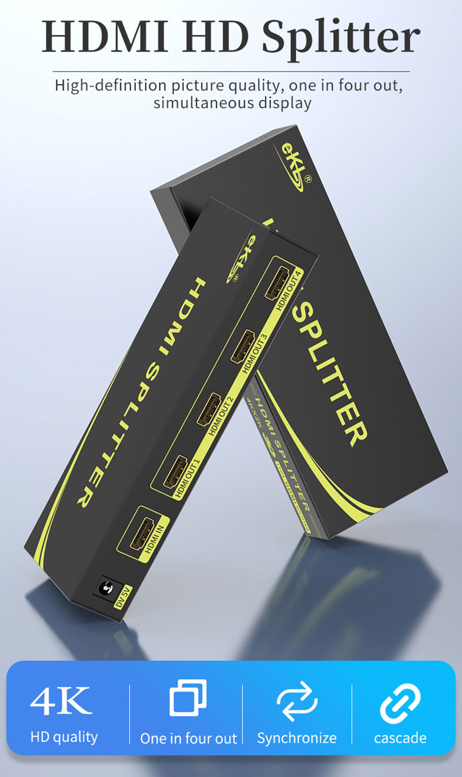 HDMI splitter 1 in 4 out HS104
