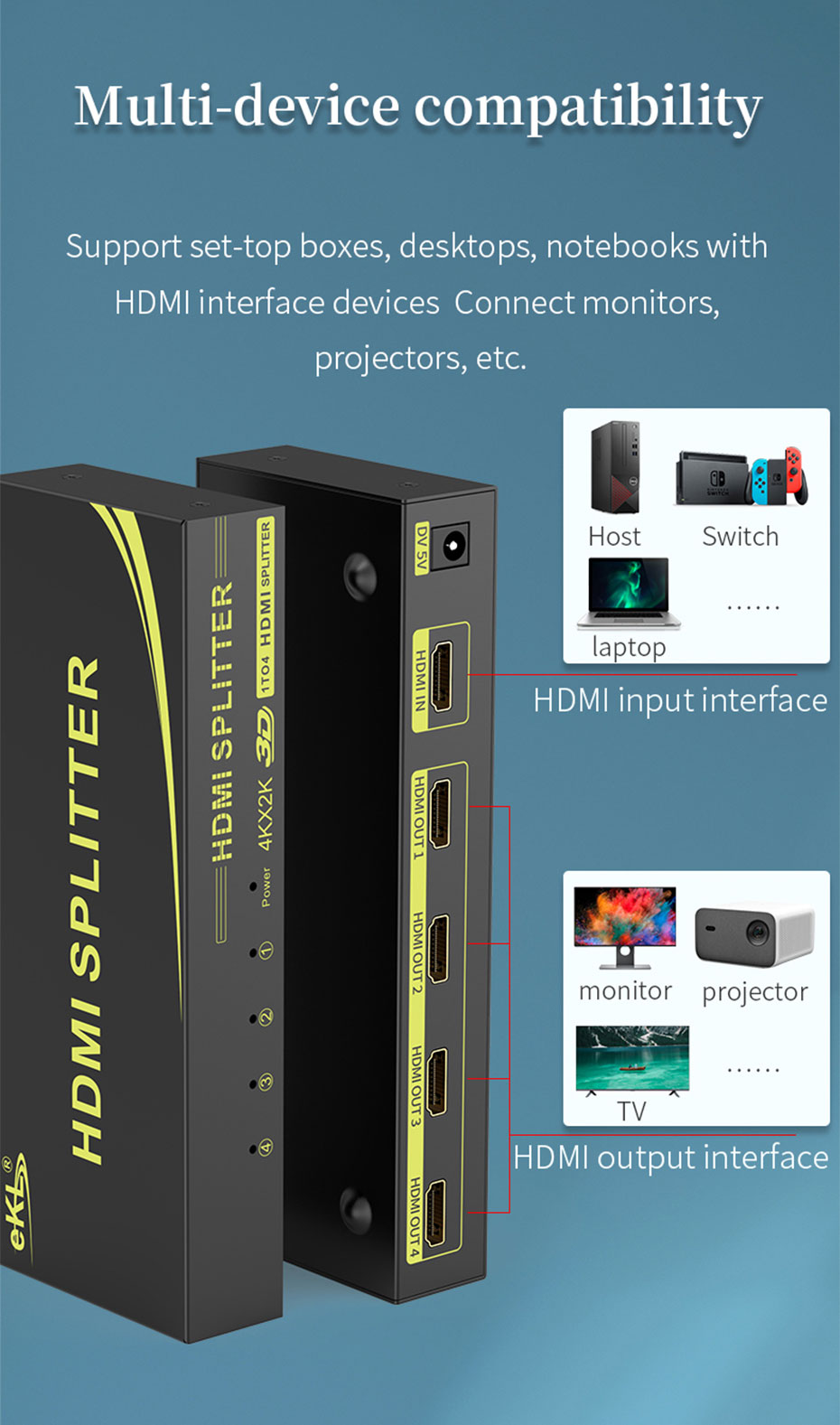 HDMI splitter 1 in 4 out HS104 compatible HDMI interface device