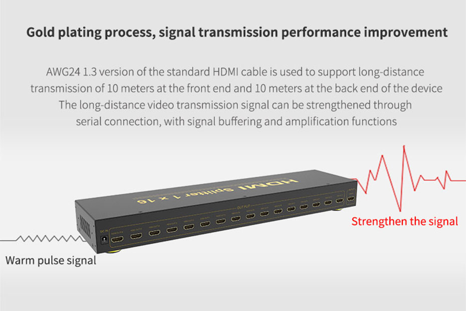 HDMI splitter 1 in 16 out HS161 supports signal buffer amplification function
