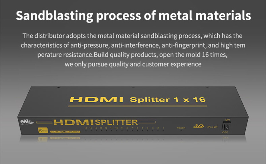 HDMI splitter 1 in 16 out HS161 uses metal body