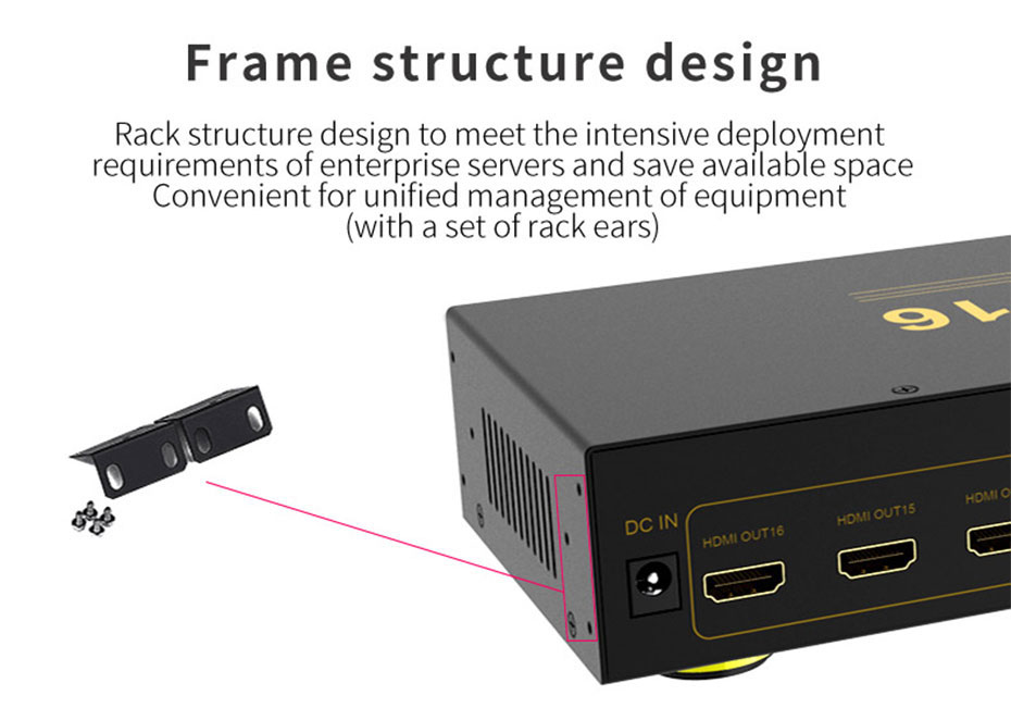 HDMI splitter 1 in 16 out HS161 supports rack installation
